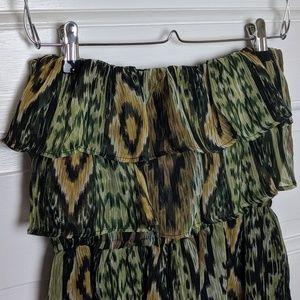 Body Central | Green Ikat Strapless Dress
